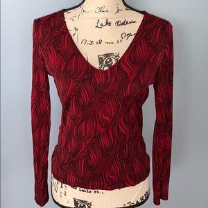 INC INTERNATIONAL CONCEPTS black red blouse Med
